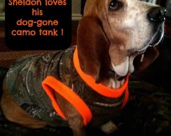 Handmade from Realtree Camo. Dog Shirt. pjs .pajamas. tank. warm dog costume.  redneck dog outfit. SZ Sm-XXXL. Mossy Oak. Xtra Green