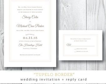 Tupelo Border Printed Wedding Invitation and Additonal Suite Pieces | Printed or Printable by Darby Cards