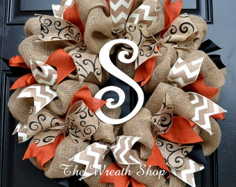 Fall Burlap Monogram Wreath with Rust Orange Black and Ivory
