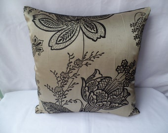"""Clearance Modern black, gold flowered 16"""" x 16"""" cushion cover, scatter cushion, pillow case"""