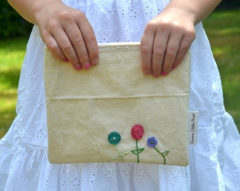 Reusable Snack Bag, Eco Snack Bags, Button Flowers Nylon Lined, Back To School Girls Snack Bag