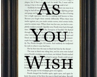 As You Wish  Book Page Print Recycled Book Page The Princess Bride