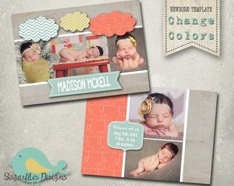 Newborn Baby Announcement PHOTOSHOP TEMPLATE - Baby Girl 003