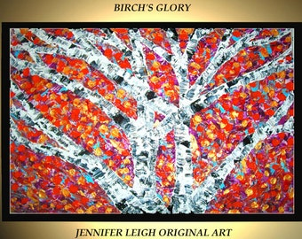 """Original Large Abstract Painting Modern Contemporary Canvas Art  White Gold Orange Fall Birch Trees 36x24"""" Palette Knife Texture Oil J.LEIGH"""