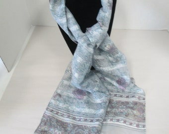 Vintage blue flowered silk scarf  used no tags
