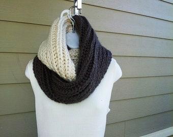 Chocolate Chunk and Vanilla Swirl Infinity Scarf - PDF knitting pattern advanced beginner / moderate