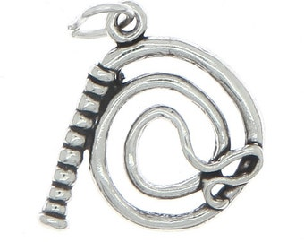 Sterling Silver Western Whip Charm (3d Charm)