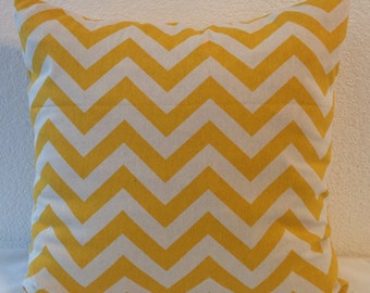 Single Pillow Cover 18x18 inch -Free US Shipping -Premier Prints Zig Zag in Corn Yellow Slub