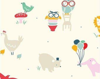 Sale | Birch organic cotton fabric - Everyday Party animal fabric - 1/2 YD