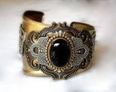 Gothic Cuff Bracelet - Large Black Onyx Cuff Bracelet - Women Men Gothic Jewelry - Game of Thrones Jewelry - Game of Thrones