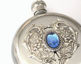 Round  Women Flask - Victorian Liquor Flask Heart Sapphire Stainless Steel - 5 oz - Vintage Style Accessories