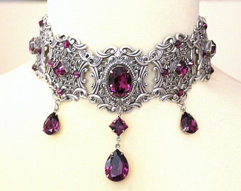 Purple Gothic Choker - Amethyst Swarovski Crystal Choker -  Victorian Choker - Bridal Necklace - Gothic Jewelry - Wedding Jewelry