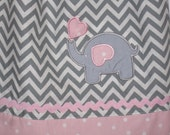 pink and gray chevron elephant pillowcase dress for toddlers and girls