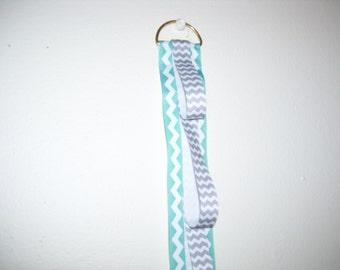 Gray and Teal Chevron Ribbon Headband Holder