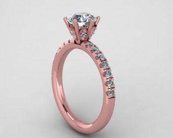 custom made rings,custom design hand made,rose gold moissanite engagement ring,  style 133RGDM