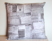 """eclectic ticket/receipt print cotton fabric pillow cover 18"""""""