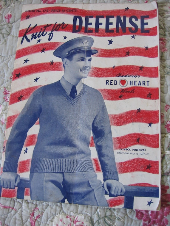 Knit for Defense Patterns Red Heart Vintage Knitting Patterns 1941 World War II Era Knits for Men Trigger Gloves Scarfs Sweaters and Socks