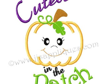 Instant Download - Halloween Designs Halloween Sayings Embroidery Applique - Cutest Pumpkin in the Patch 4x4, 5x7, 6x10 hoop sizes