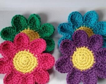 Crochet Coasters, Cup Coasters, Crochet Flower Coasters, Coaster set of 4, Crochet Rainbow Coasters, Flower Coasters, Cup Coasters