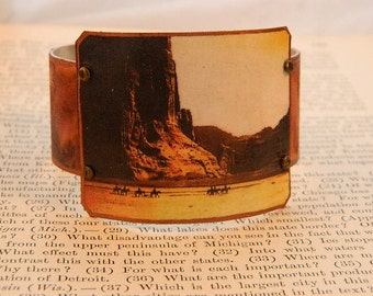 Native American jewelry bracelet Canyon De Chelly Edward S Curtis Mixed media jewelry