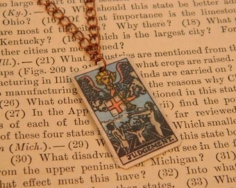 Tarot pendant tarot jewelry Judgement minimalist jewelry mixed media jewelry supernatural