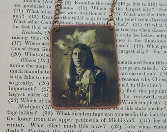 Native American inspired necklace or pendant Henry Iron Shield mixed media jewelry