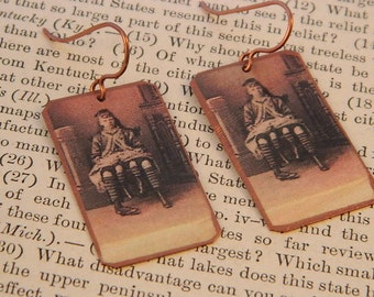 Circus earrings Circus Freak Girl with extra legs Circus Jewelry mixed media jewelry