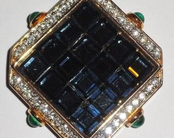 Signed CRAFT For Gem Craft Blue Clear Green Square Panel Glass Rhinestone Large Designer Brooch