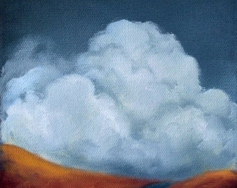 Oil painting, landscape, clouds, jewel tone,  home decor, wall art - Stormscape series sixtyeight