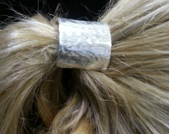 Sterling Silver ponytail holder. Hand Hammered, this is an elegant upgrade for your ponytail.