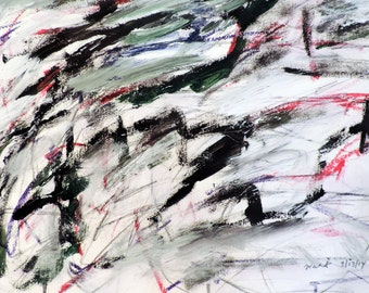 Black, Blue & Red Landscape 3-14-14b (abstract expressionist painting, black, red,white, cream)