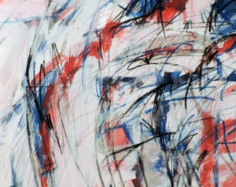 Red White & Blue 1 (abstract expressionist painting, blue, white, black, red, silver)