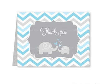 Baby shower thank you cards chevron elephant blue and grey PRINTABLE