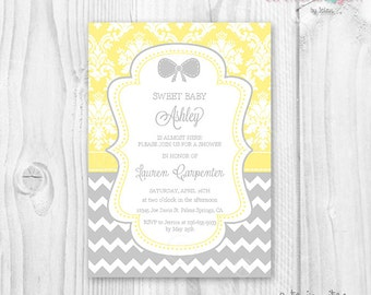 Baby shower girl invitation girl yellow and grey damask, polka dot