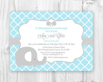 Baby shower boy elephant blue and grey quatrefoil printable invitation