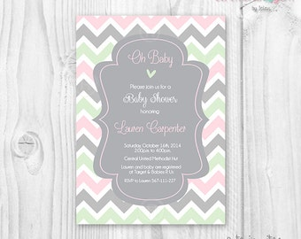 Baby shower girl chevron pink, mint and grey printable invitation
