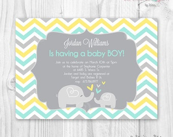 Elephant baby shower invitation chevron yellow, mint and grey colors, baby shower mom and baby elephant