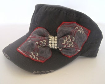Charcoal Grey Cadet Military Distressed Army Hat with a Grey and Red Bow and Rhinestone Trim