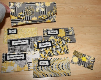 Fabric Cash Envelope system (clutch, coin purse, and 6 envelopes) - Yellow/Grey Mix READY TO SHIP