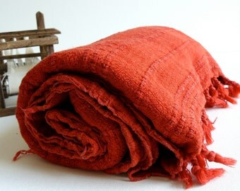 Turkish Towel Hand Loomed Peshtemal Towel for beach and bath in Red Vintage Inspired Stone Washed