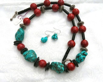 REDUCED!  27 Inch Large Southwestern Chunky Turquoise and Red Sponge Coral Necklace