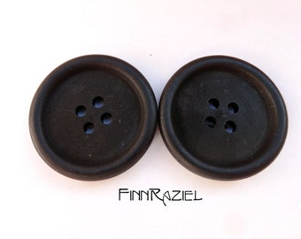 5 Wooden buttons black ø30mm round coat buttons