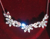 Vintage Krementz 1930s Sparkly Rhinestone Flower Necklace and Earrings Set Cocktail Wear