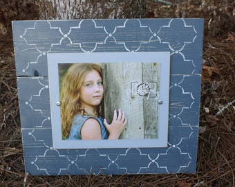 Distressed Picture Frame, Wood 8x10 Frame, Blue Picture Frame,  8x10 Picture Frame, Wood Plank Frame, Lattice Frame, Quatrefoil