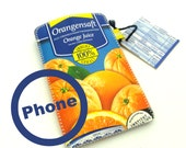 upcycled mobile phone pouch, retro print, upcycled juice cartons