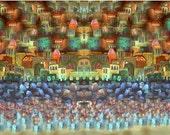 "Jerusalem forever-home blessing- digital print on canvas- express mail. 19.6x39"""