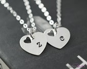 Friendship necklaces, Heart charms personalized necklaces, best friends gift, sisters gifts, initial necklace