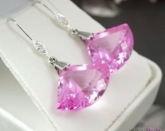 Pink topaz earrings, luxe earrings, sterling silver cubic zirconia, genuine pink topaz gemstones, wedding jewelry