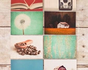 set of eight refrigerator magnets, photo magnets, kitchen decor, fine art photograph, magnets, vintage, home decor