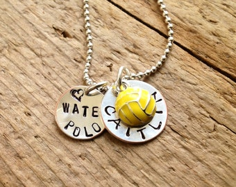 Water Polo Player Mom Girl girlfriend Custom Sports Necklace  Personalized Player Pendant Ball Custom Charm